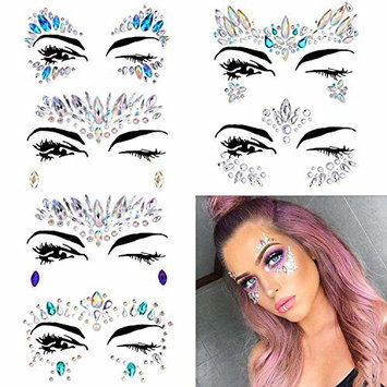 Face Gems - 6 Set Face Jewels Stickers Festival Glitter Rhinestone Face Temporary Tattoo Face Jewels Crystals Face Stickers Eyebrow Face Body Jewelry