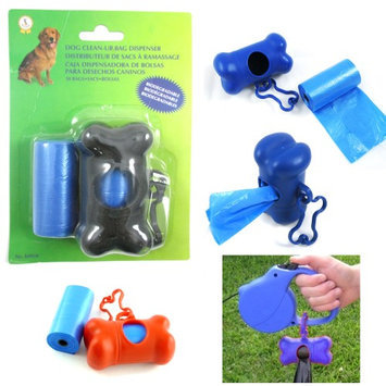 Atb Bone Shape Dispenser Pet Dog Pickup Poop Bag Waste Clean Up Extra Refill Roll!