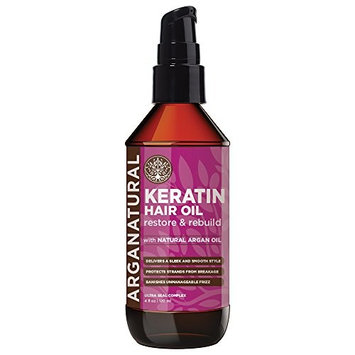Arganatural Organic Keratin Restore and Rebuild Hair Oil with Natural Argan Oil, Sleek and Smooth Style, Protect strands from Breakage, Banishes Unmanageable Frizz for All Hair Types 4oz / 120ml