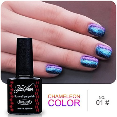 Yaoshun Gel Nails Polish,Holographic Glitter Starry Galaxy Chameleon Colors Changes UV LED Nail Polish 10ml-#005