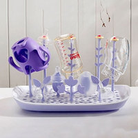 Baby Bottle Drying Rack, [BPA-Free] Large Drainer Mat and Baby Bottle Nipple Pacifier Cup Dryer Holder Stand for Toddler Infants(Purple) - SmartUlife