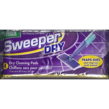 Sweeper Dry Cleaning Pads, Traps Dust your mop can push around, 4 pcs