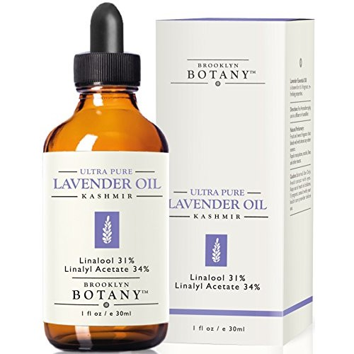 Lavender Essential Oil (Kashmir) - Brooklyn Botany - 100% Pure, 1 fl. Oz - with 31% Linalool & 34% Linalyl Acetate - Great for Aromatherapy, Massages, Bug Repellent, Hair Care and Skin Care