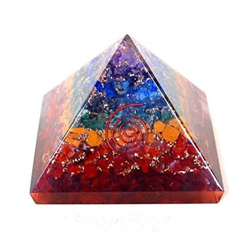 Reiki Healing Energy Charged Krystal Gifts UK Seven Chakra Crystal Chip Large 7 cm Orgone Pyramid Including Crystal Description & Beautifully Gift Wrapped by Krystal Gifts UK