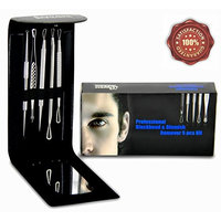 Express Beauty Boutique Blackhead and Blemish Remover 5pcs Kit. Blackheads Extractor, Comedone Whitehead Tools Remover for Acne Skin. Black Case with Mirror. Get your Best Beauty Gift!