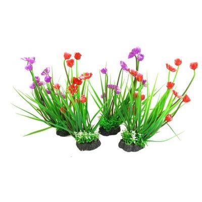 Artificial Red Purple Flower Plants Aquarium Decor 4 In 1