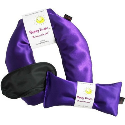 Happy Wraps Unscented Flax Seed Neck Wrap with Unscented Flax Seed Eye Pillow and Sleep Mask - Microwave or Freeze - Amethyst