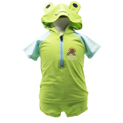 StylesILove Adorable Baby Boy Green Frog Hoodie Costume 2-PC Swimsuit (1-2 Years)
