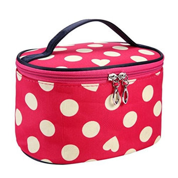 TRENDINAO Green/Hot Pink/Orange/White/Watermelon Red Cosmetic Makeup Bag Case Handle Round Dot Large Travel Organizer Holder With Mirror