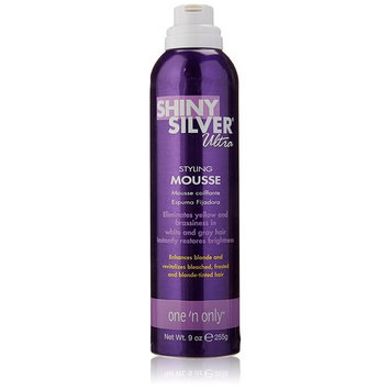 One 'n Only Shiny Silver Ultra Styling Mousse, 9 Ounce (2 Pack) with REVELE LOOFAH