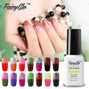 Fairy Glo (Pick Any 5 Colors) Gel Nail Polish Soak Off Thermal Temperature Changing Colour UV LED Maniure Gift Set Nail Lacquer Art Kit