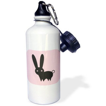 3dRose Bunny on Pink Tile, Sports Water Bottle, 21oz