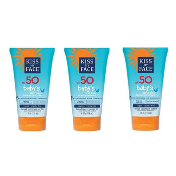Kiss My Face Sunscreen Baby's First Kiss Lotion, SPF 50, for Baby, 4 Oz (Pack of 3) + FREE Makeup Blender