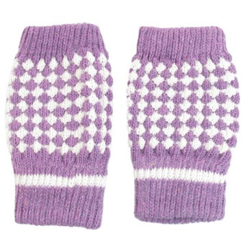 Allegra K Women Girls Purple White Knit Hand Warmers Lined Winter Half Finger Gloves