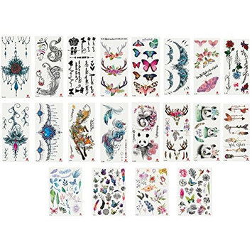 Nutrition Bizz Temporary Tattoos for Women Kids Teen Arm Tattoo Fake Tattoo Lotus Cherry Blossoms Biker Tattoo Waterproof Stickers Beach Arms Shoulders Chest & Back (Pack of 20# 1)