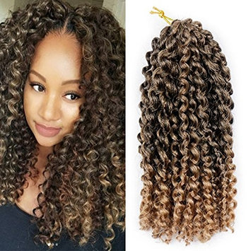 Pack of 3 Ombre Color Marlybob Crochet Braiding Hair ELEGANT MUSES Afro Kinky Curly Jerry Curl Braids Kanekalon Synthetic Hair Extensions (8