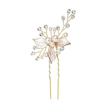 Clover Bridal 3 pcs Hair Pin Stick with Hand-Made Leaves Freshwater Pearl and Crystal Sprays