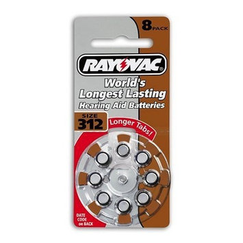 Rayovac Loud'n Clear Hearing Aid Batteries, Premium Zinc Air, Size 312 , 8 batteries