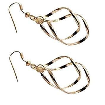 ZHUOTOP 1 Pair Girls Charming Twisted Earrings Hoop Ear Stud 2.1*4.8cm (G