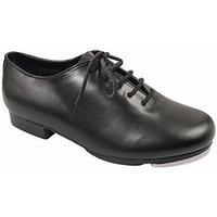 Girls Black Leather-Like Upper Jazz Tap Oxford Shoes 8 Toddler-4 Kids