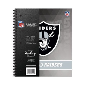 Cr Gibson NFL Oakland Raiders 5 Subject Spiral Notebook, 200 Sheets, College Rule