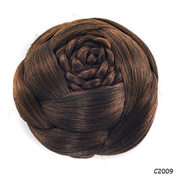 Braided Updo Hair Extensions Buns Chignon Bride Wedding Synthetic Scrunchies