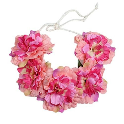 Voberry Women Girl's Big Flower Boho Wreath Wedding Party Crown Headband Floral Garland Hair Tied band
