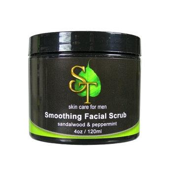 Smoothing facial scrub for men, Sandalwood & Peppermint, 4oz