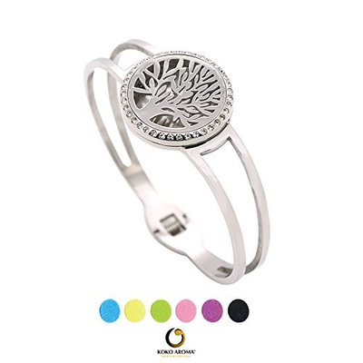 KOKO AROMA Premium Diffuser Bracelet Locket Stainless Steel 25MM SILVER Essential Oil Aromatherapy Bangle Jewelry (A25MM-S024)