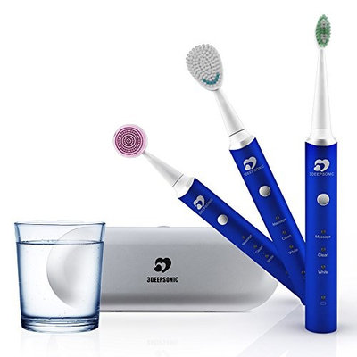 WONYERED 3-in-1 Electric Smart Toothbrush Whitening Rechargeable Electric Toothbrush Facial Cleaning Brush with 3 Replacement Heads Smart Timer USB Charging Aluminium Alloy Whole Ipx7 Waterproof Blue