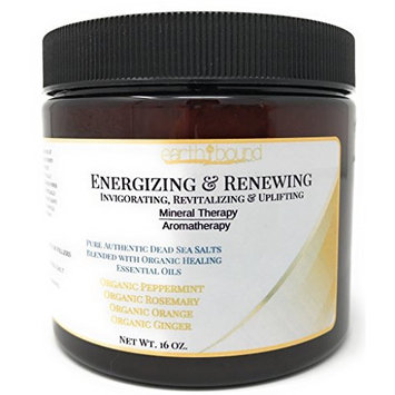 ENERGIZING & RENEWING / 100% Pure Authentic Dead Sea Spa Quality Bath Salts / Cleanse, Reduce Cellulite & Fluid Retention / Organic Essential Oils of Peppermint, Rosemary, Orange and Ginger - 16 oz