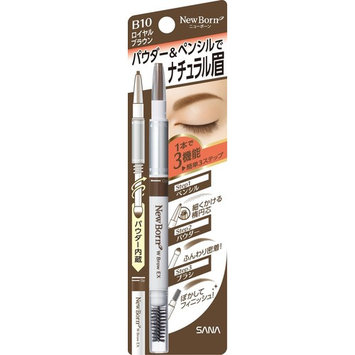 SANA New Born W Brow EX 3-Way Eyebrow Pencil, Royal Brown