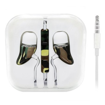 Hlc Design Headphone Cone-Shape with Remote and Microphone for iPhone 4/5/6 (Camouflage)