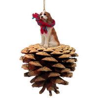 Cavalier King Charles Spaniel Brown & White Pinecone Pet Ornament