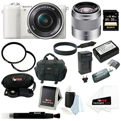Sony Alpha (ILCE-5100L/W ILCE-5100LW ILCE-5100) 24MP 16-50mm Interchangeable Lens Camera with 3-Inch LCD (White) + Sony