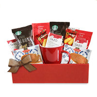 A California Delicious Happy Holidays Box with Single-serve Starbucks Coffee, Tea, Cocoa, and Ceramic Mug