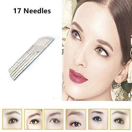 50PCS/Pack 17 Pin Permanent Makeup Blade Microblading Needles for 3D Embroidery Manual Tattoo Pen Machine