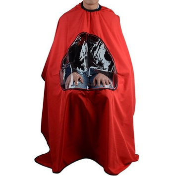 Tinksky Professional Salon Hair Cutting Cape Hairdressing Waterproof Gown with Viewing Window (Red)