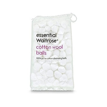 Pure Cotton Wool Balls 85g essential Waitrose 100 per pack - Pack of 6