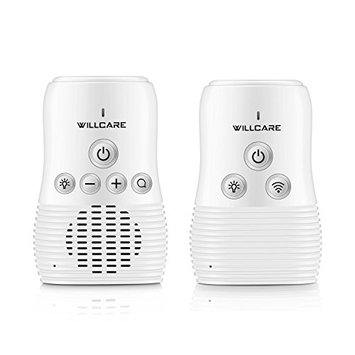 Willcare Upgraded Baby Monitor with Two-Way Audio, Smooth Night Light, Rechargeable Battery Operated Parent Unit & Long Range. (DB-8 White)