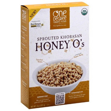 One Degree Organic Foods Sprouted Khorasan Honey O's Cereal, 8 oz, (Pack of 6)
