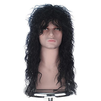 Men Women 70s 80s Themed Party Rocking Heavy Metal Hair Long Curly Punk Halloween Cosplay Costume Wig (Jet Black)
