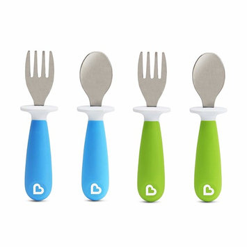 Munchkin 4 Piece Raise Toddler Fork and Spoon, Blue/Green, 12+