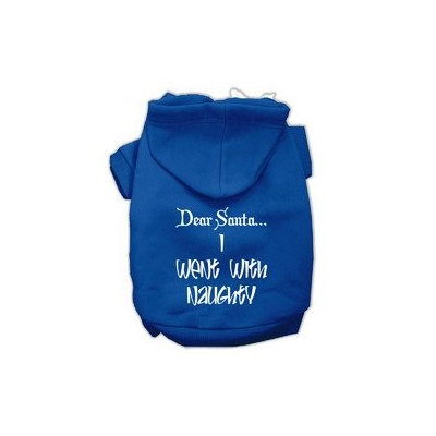 Mirage Pet Products Dear Santa I Went with Naughty Screen Print Pet Hoodies Blue Size XXXL (20)