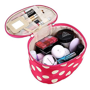 DZT1968® Handle Round Dot Large Cosmetic Bag Travel Makeup Organizer Case Holder With Mirror