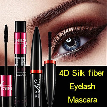 4D Silk Fiber Mascara Cream Makeup Eye Lashes Extension - Waterproof Long Lasting, 3 Steps Easy to Apply for Thicker & Longer Eyelashes, Excellent Quality Non-Toxic Hypoallergenic Ingredients (Black)