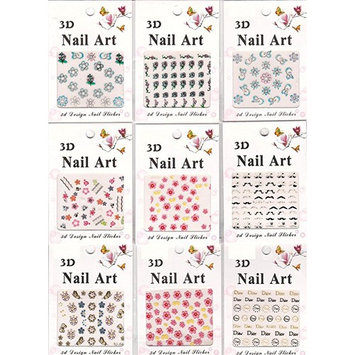 9 Sets Mix Style Nail Art Tip Beauty Manicure 3D Sticker Self Adhesive Decal Template Tattoo Decoration Flowers Butterflies Hearts French Fashion Accessories Sparkling Glitter AOSTEK(TM) (D)