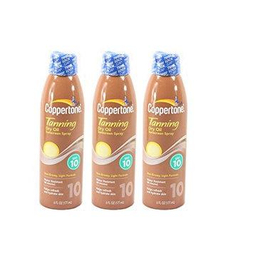 Coppertone Tanning Dry Oil Sunscreen Spray, SPF 10 6 fl oz (177 ml) Pack of 3