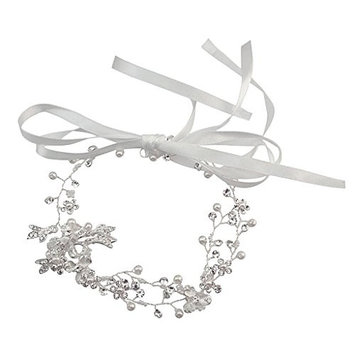 Homyl Boho Lady Headband Ribbon Vine Rhinestone Pearl Beads Leaf Charms Hairband - Silver