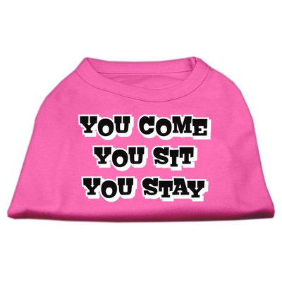 Mirage Pet Products 5151 MDBPK You Come#44; You Sit#44; You Stay Screen Print Shirts Bright Pink M 12